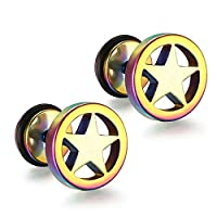SanJiu Jewelry Men's Earrings Studs Set Round Circle Star Stainless Steel Earrings for Men Colourful