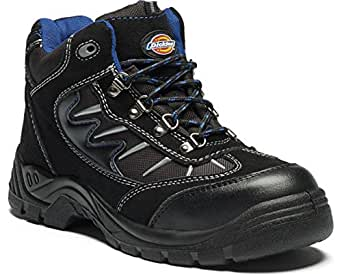 Dickies FA23385A BK 4 Super Safety Hiker, Suede and Mesh, 4 Size, Black