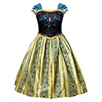 AmzBarley Anna Coronation Dress for Girls Princess Dress up Costume Fancy Party Outfit Childs Cap Sleeves Halloween Birthday Holiday Pageant Dresses (3-4 Years, Dark Green)