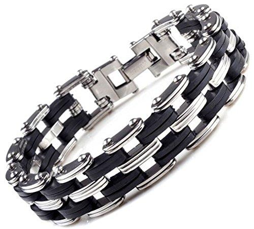 SaySure - Men Black Rubber Bangle silver stainless steel bracelets link cuff
