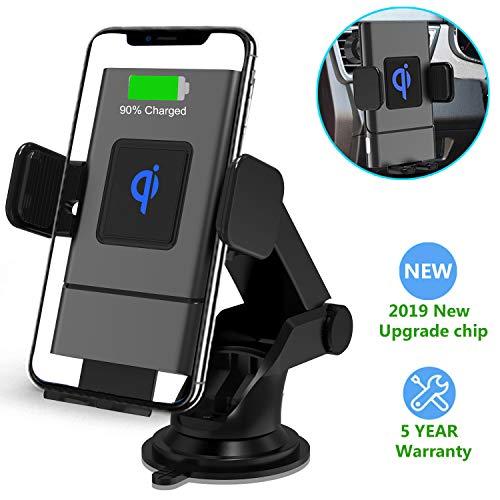 Wireless Charger Auto Halterung, Automatische Qi Handy KFZ Halter 10W/7.5W/5W Kabelloses Ladegerät für Samsung S10/S10+/Note 10/S9/S8, iPhone 11/11 Pro+/XR/Xs Max/X/8+ und mehr