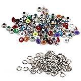 HEEPDD Kit passacavi 100 Pezzi, Occhielli in Metallo colorato in Alluminio da 4 mm per Scarpe, Vestiti, Borsa, Artigianato, Progetto Fai da Te (Mixed Color)