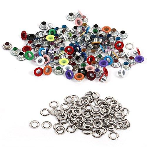 Akozon Occhielli Metallo 4 Colori 100pz 4mm Occhiello Metallici Rotondi Scrapbooking Foro Craft Accessori per Abbigliamento in Pelle Craft e Scrapbooking Decorazione(Gemischte Farbe)