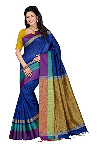 Rani Saahiba Art Dupion Silk Zari Border Saree ( RNB5_Royal Blue )