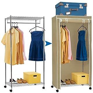 Artmoon Buffalo   Schwerlast Kleiderschrank mit 2 Ablagen und Hängestangen   Stoffschrank auf Rollen   Einfache Montage   20 Kleiderbügel und 50 kg Lasten   Abmessungen: 75x45x150 cm