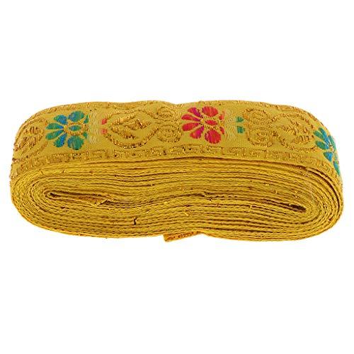 le Spitzenband Spitzenbesatz Spitzenborte Applique für Kleidung, Kostüm DIY Nähen - Gelb, 4,5 mm x 7 m ()
