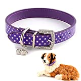 SurePromise One Stop Solution for Sourcing Hundehalsband Halsbände Hundeleinen Hundewelpen Welpenhalsbänder Retro Welpenhalsband Polka Dot Design m. Strass Lila/Rot/Blau/Grün/Schwarz/Pink