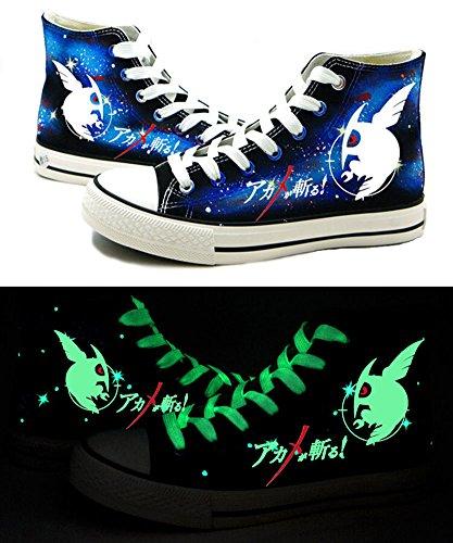 Akame Ga töten. Anime Night Raid Logo Cosplay Schuhe Leinwand Schuhe Sneakers Luminous, damen, blau