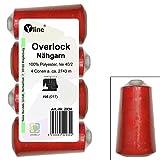 4 Stück Spulen Overlock - Nähgarn, rot, a. 2743 m, NE 40/2, 100% Polyester, Nähfaden, Nähmaschinen Garn, 2934