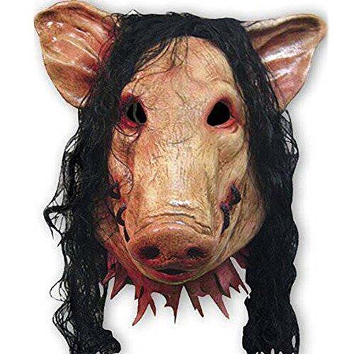 en lustige Maske, super grässlicher Schwein Kopfmaske aus Latex Tierkostüm Spielzeug (Heath Ledger-joker Make-up Halloween)
