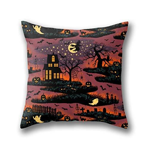 GYTOP Kissenbezug Halloween Night Bonfire Glow Standard Dekokissen Kissenbezüge Kissenhülle 45X45 cm