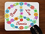 Peace Love Tennis Desktop Office Silikon Maus Pad von Debbie 's Designs