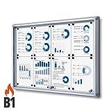 Schaukasten 8x A4 B1 Alu mit Schiebetüren Infokasten innen Brandschutz brandsicher runde Sicherheitsecken