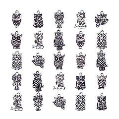 Idea Regalo - Ciondoli in lega stile tibetano gufo,Argento antico,16~30x16~30x3~4mm, Foro: 1~2mm
