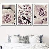 CNHNWJ Wandkunst Leinwand Malerei Für Wohnzimmer Schlafzimmer Dekor Frische Rosa Blumen Rose Pflanze Nordic Poster Und Drucke Wandbilder (40x60 cm x 3 / kein Rahmen)