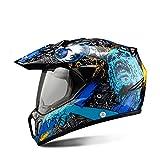 MARQUEND Noir Moto Casque Moto Équitation Casque Intégral Motocross Hommes Aventure Descente DH Racing Moto Casque Dot Blue Skull XL