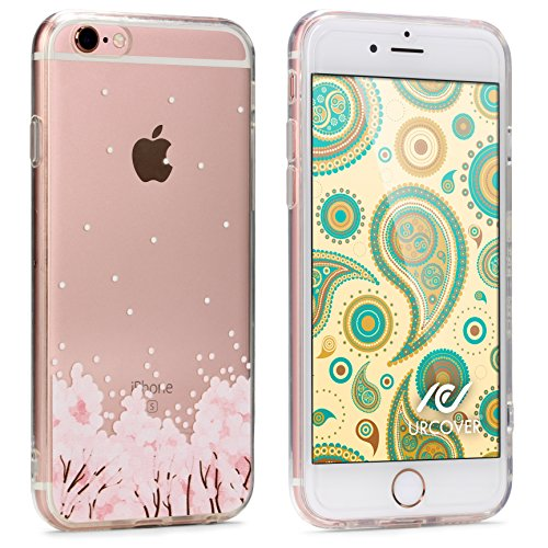 Urcover® Apple iPhone 7 Plus / 8+ Hülle TPU Case mit Traumfänger Schwarz Muster | Durchsichtig Silikon Schutz-hülle | transparent weich dünn flexibel soft slim Cover | Smartphone Zubehör Blumen Rosa