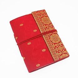 Fair Trade Notizbuch Sari 110 x 160 mmv- rot