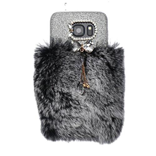 Preisvergleich Produktbild Saingace® Villi-Pelz-Plüsch-Wolle Bling Hülle für Samsung Galaxy S7 Edge Case Cover (Grau)