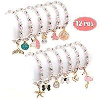 Bascolor 12pcs Bracelets for Girls Women Pearl Bracelet Pendant Animal Unicorn Bracelet Friendship Bracelets Crystal Bead Charm Bracelets Kids Party Bag Fillers Princess Jewellery (Single Layer)