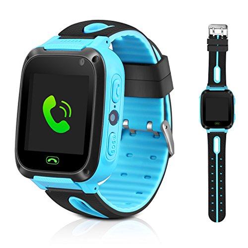Montre enfants GPS Tracker Smart montre bracelet pour enfants filles garçons cadeaux d'anniversaire de Noël avec fonction de lampe de poche Caméra