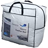 Homescapes - Soft New Whole White Goose Feather Bed - Double - 7cm EXTRA Thick Mattress Topper - 100% Cotton Anti Dust Mite & Feather Proof Fabric - Anti allergen - Box Baffle Construction - Washable at Home Range
