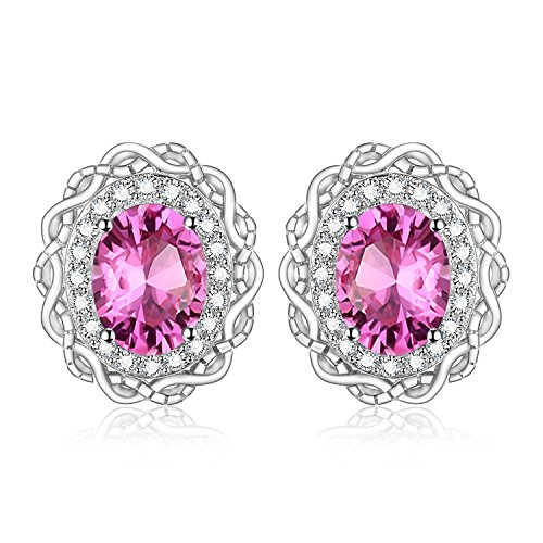 jewelrypalace Vintage 1 Karat oval Cut Genuine Pink Topaz Halo Ohrstecker 925 Sterling Silber