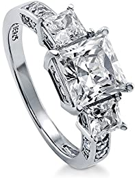 BERRICLE Rhodium Plated Sterling Silver Princess Cut Cubic Zirconia CZ 3-Stone Engagement Ring