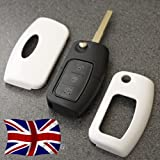 White Key Cover for Ford Remote Flip Key Fob Case Protector 2 3 Button nfrd Fiesta Focus Mondeo C-Max S-Max Galaxy Kuga Zetec S TDCI Titanium X Style Plus Ghia Studio Climate Edge LX ST RS Powershift (Wise White)