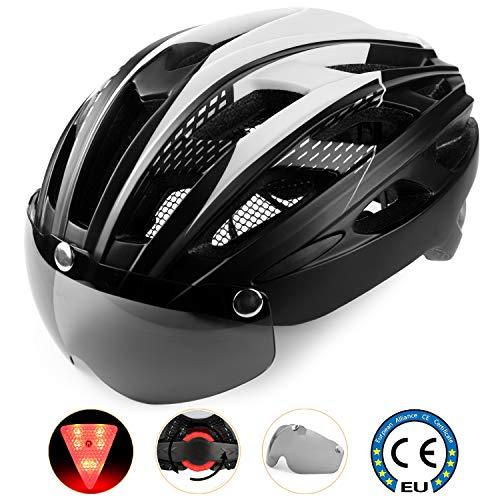 A-Best Casco da bici,Certificato CE, Specialista casco con visiera magnetica staccabile Shield Casco da bici super leggero Casco integralmente adulto da bicicletta con visiera rimovibile Shield