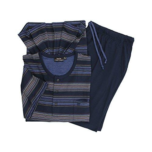 hajo Herren Zweiteiliger Schlafanzug He Shorty Klima-Komfort Blau