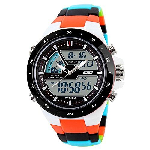 ctime Digital Quarz Herren Sport Uhren Farbe Orange Multicolor