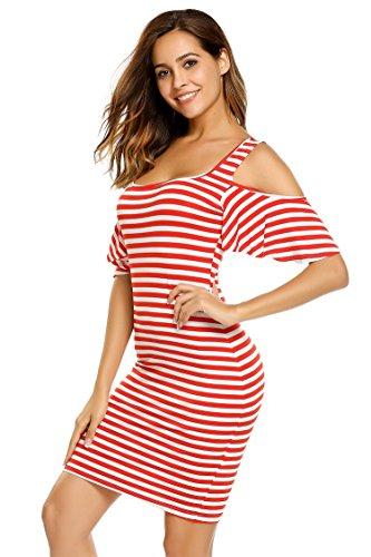 ACEVOG Damen Sommer Etuikleid Kurze Schulterfreie Streifen Kleider Bodycon Kurzarm Strandkleid Freizeitkleid Rot&Weiß