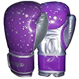 Boxhandschuhe Kids Junior Youth MMA Sparring Training Kick Boxen Muay Thai PUR Purple With Silver Stars 4 Oz