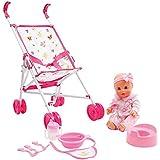 mamatoy mma35000-Set avec poupée, biberon, pot, poussette et accessoires bébé