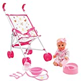 Mamatoy MMA35000 – Mama Mia Stroll around set, Baby doll that drinks and pees, with doll stroller and feeding accessories