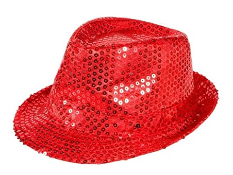 Chapeau de style trilby pailleté LED clignotant, paillettes accessoire deguisement fête disco ambiance spéctacle homme femme jeune moderne:TH-41 rouge