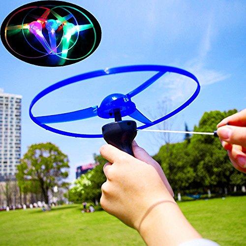 Elevin(TM) _ Toys & Joker Funny Olorful Pull String UFO Led Light Up Flying Saucer Disc Toy Large C