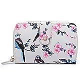 Miss Lulu Women Grey Flower Bird Purse Oilcloth Short Wallet Clutch Hand Bag (1580-16J Beige)