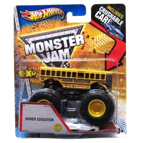 HOT WHEELS 2013 RELEASE HIGHER EDUCATION SCHOOL BUS MONSTER JAM WITH CRUSHABLE CAR, HOT WHEELS HIGHER EDUCATION SCHOOL BUS MONSTER TRUCK by Hot Wheels