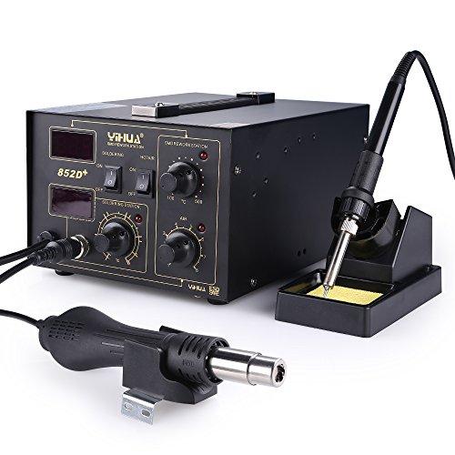 YIHUA 700W Lötstation 852D, 2 in 1 Heißluft-Entlötstation elektronisch temperaturgesteuert, LCD-Anzeige,650W Heißluftpistole 100~500℃ und 45W Lötkolben 200~480℃