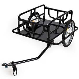 TecTake Remorque à vélo de transport Remorque à bagages pliable