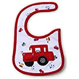 Babies Bloom Cotton Waterproof Saliva Bib - Car Embroidery Red And White