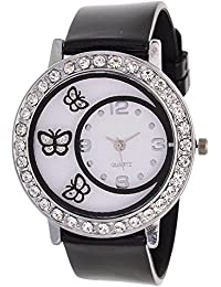 Style Keepers Round Dial Butterfly Glass Black Watch For Women Fashion Wrist Watch | Party -Wedding Watch | Special...