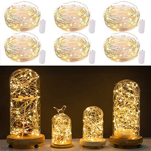 Lichterketten Batteriebetriebene Mini-Schnur-Licht-Batterie angetriebene feenhafte Schnur-Lichter 7Ft 20 LED Mini Firefly-Lichter für Hochzeit Crafts Tisch Empfang Gläser Vasen Wei ()