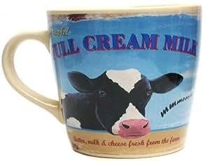 Martin Wiscombe 1-Piece Stoneware Farmers Market Cow Mug, Assorted Colors