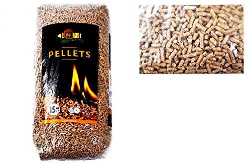 HIT HOLZ Holz-Pellets 15kg Ø6mm ENplus A1DIN Sackware Brennstoff Pelletofen Ofen Heizung