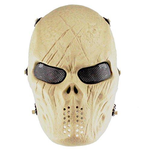 Pawaca full face skull mask, airsoft zombie scheletro protettivo maschera di halloween, fantasma spaventoso devil horror maschera per motociclista costume cosplay party movie prop paintball bb airsoft gun cs gioco di tiro mud color