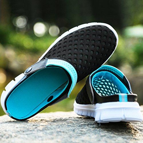 YOUJIA Unisex Atmungsaktiv Leicht Mesh Pantoffeln Clogs Sommer Garten Strand Schuhe Sandalen #1 Schwarz Mond