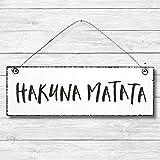 Hakuna Matata - Dekoschild Türschild Wandschild aus Holz 10x30cm - Holzdeko Holzbild Deko Schild zur Dekoration Zuhause im Büro auch perfekt als Geschenk Mitbringsel zum Geburtstag Hochzeit Weihnachten für Familie Freundin Mutter Schwester Tochter